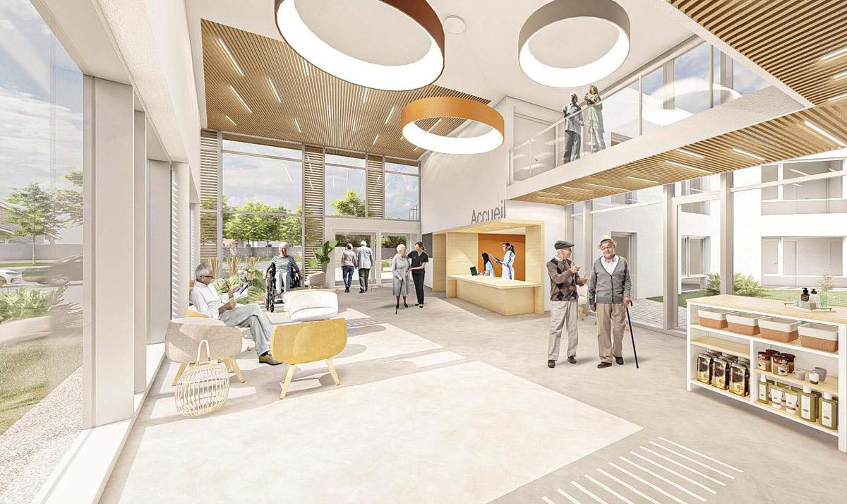 Image 3D du hall d'entrée réalisée par DGA Architectes