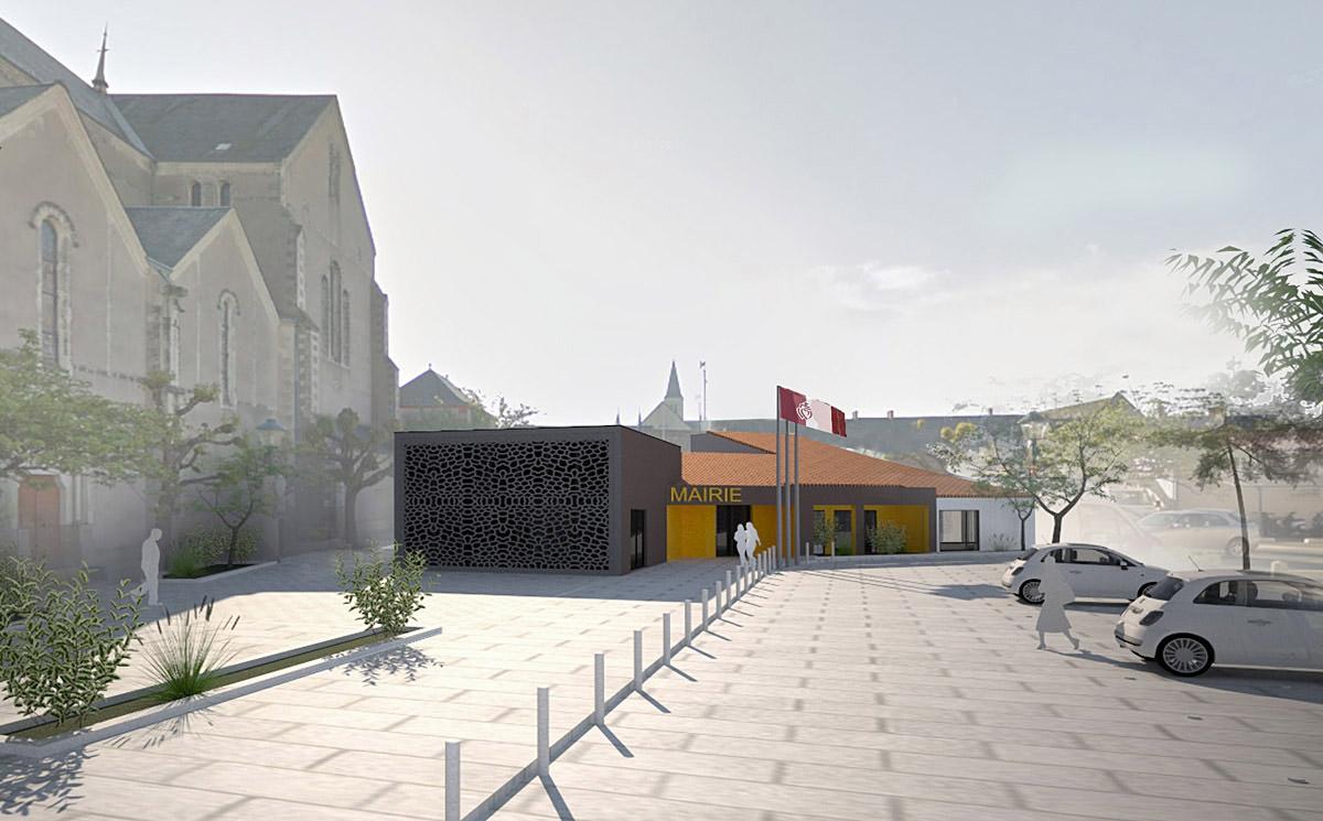 Extension mairie de Chavagnes en Paillers réalisée par DGA Architectes
