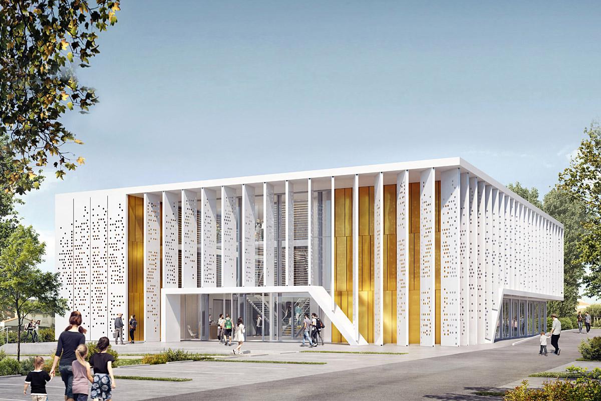 Construction médiathèque en modulaire par DGA Architectes aux Herbiers