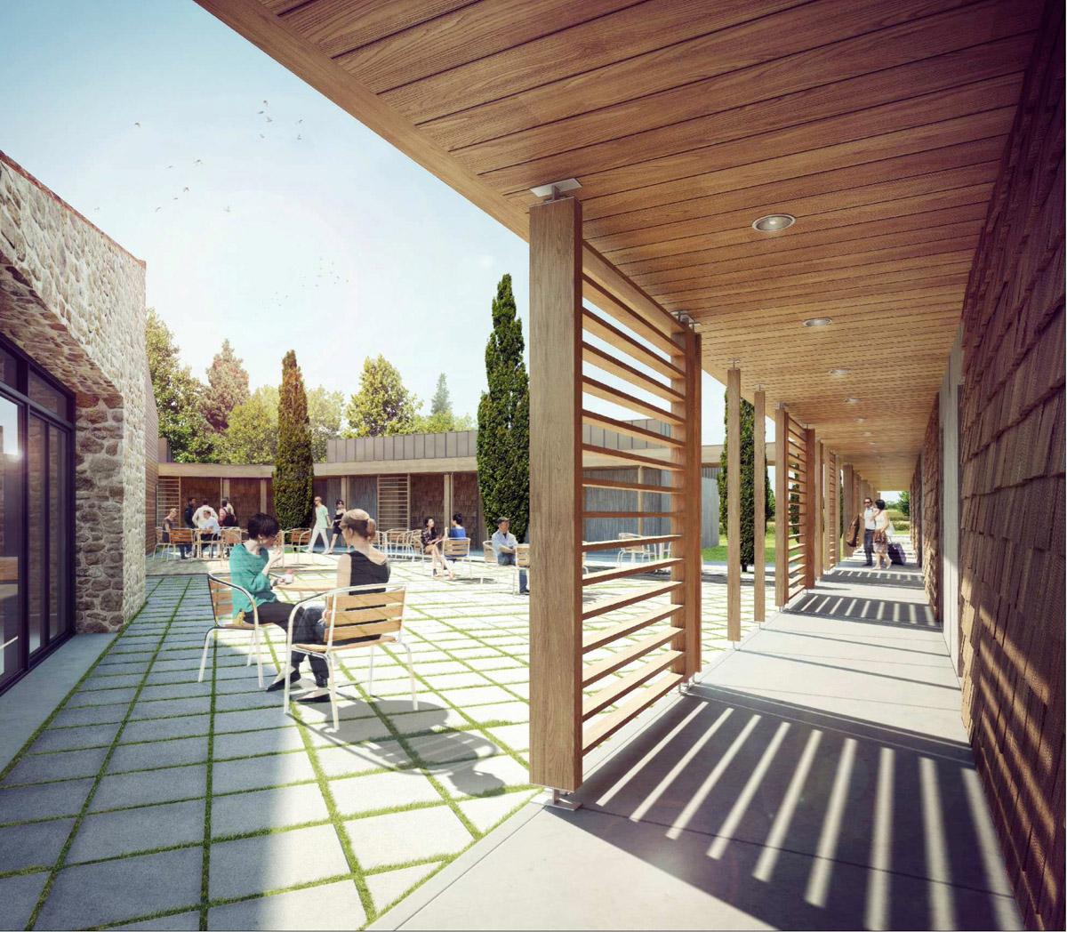 Espace extérieur de la résidence à Chambretaud imaginé par DGA Architectes