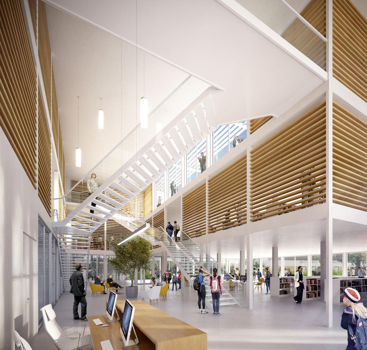 Médiathèque modulaire imaginée par les architectes de l'agence DGA des Herbiers