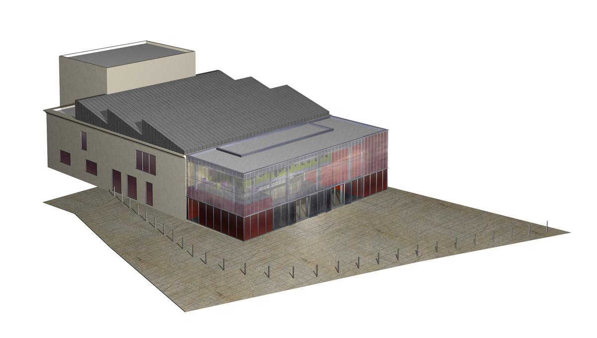 """Plan 3D de la salle polyvalente """"Le familia"""" - DGA Architectes aux Herbiers"""