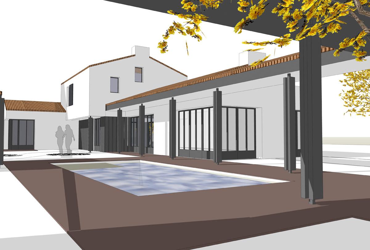 Maison aux Sables d'Olonnes avec piscine construite par DGA Architectes des Hebiers