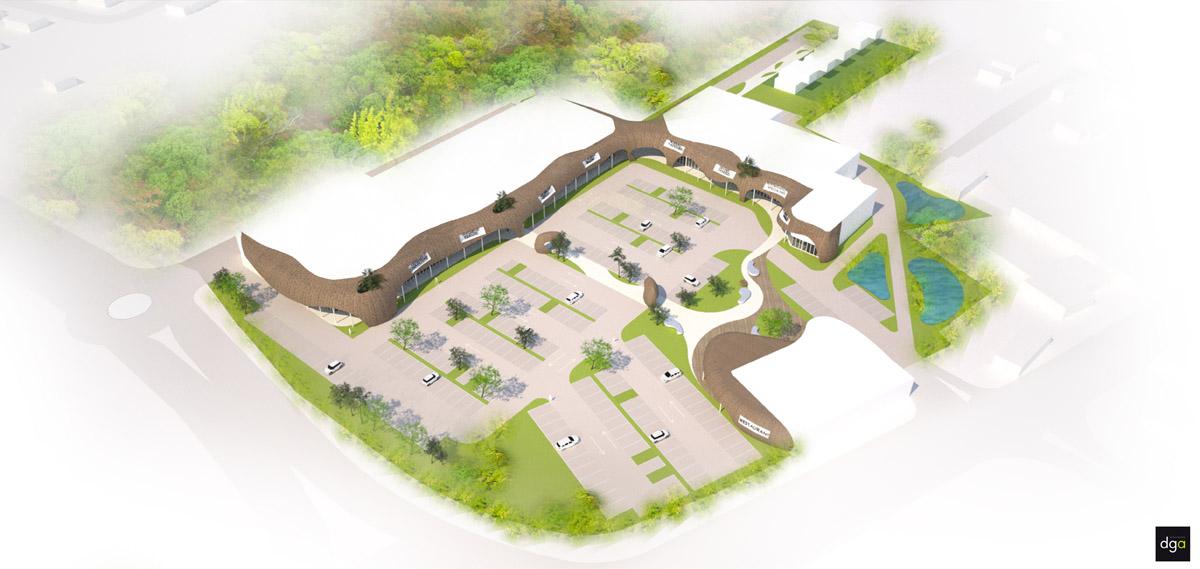 Vue aérienne de la zone d'activité de Herbignac - DGA Architectes