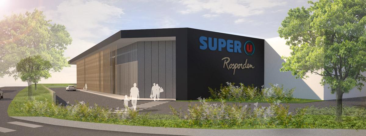 Nouvelle façade du super u de Rosporden créée par le cabinet DGA Architectes