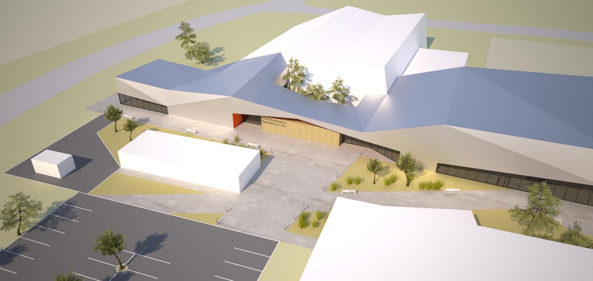 Vue du ciel du complexe sportif de Bellevigny par DGA Architectes